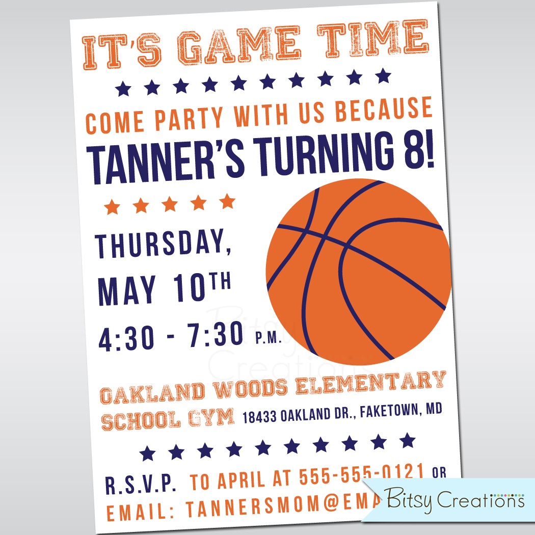 Basketball Birthday Party Printable Invitation