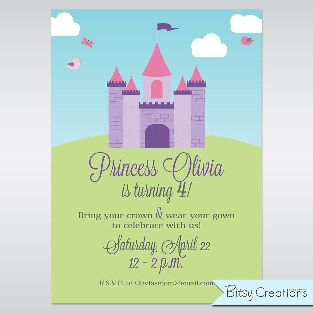 castle printable birthday invitation princess birthday