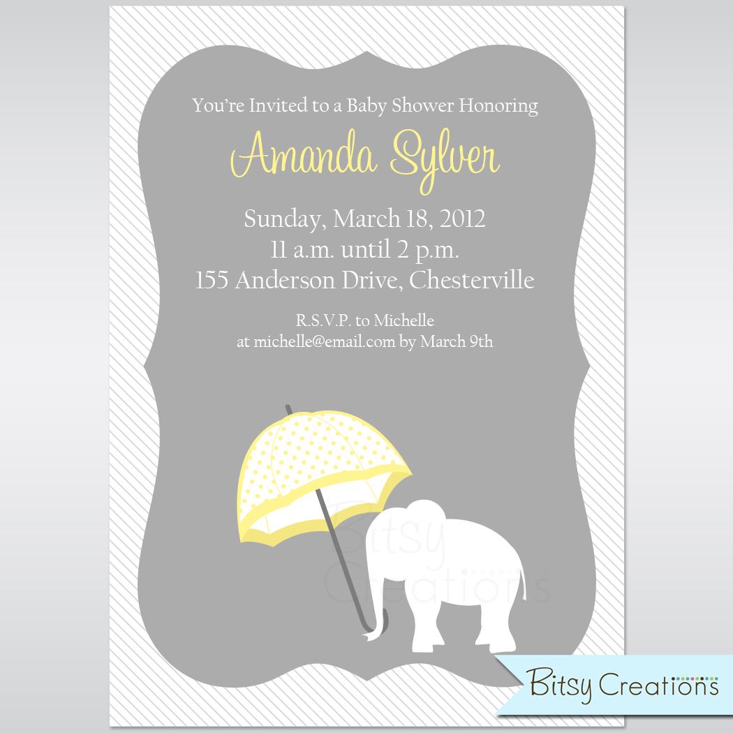 Elephant with Yellow Umbrella Baby Shower Printable Invitation