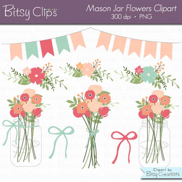 Mason Jar with Flowers Clip Art