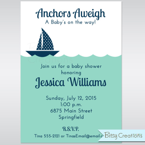 image relating to Sailboat Printable named Nautical Sailboat in just Armed service Blue Printable Youngster Shower Invitation