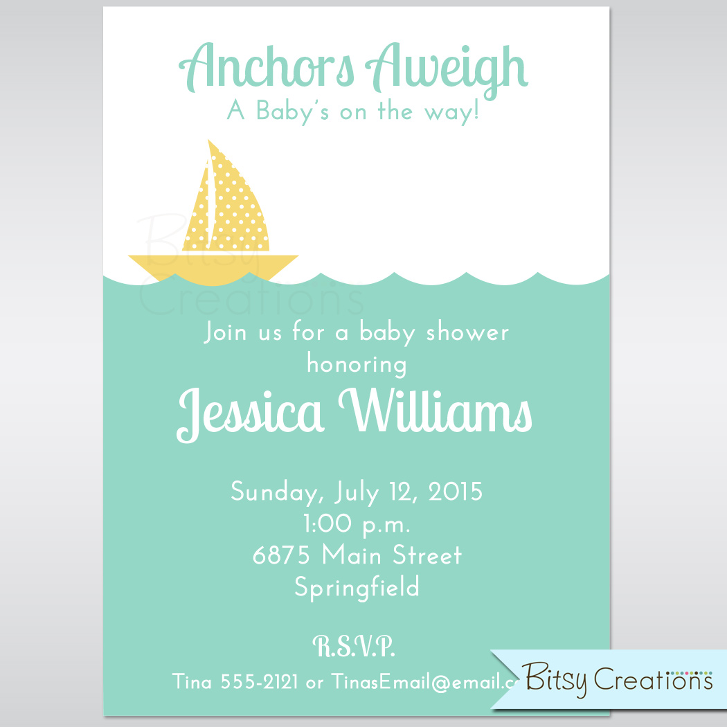 picture regarding Sailboat Printable identified as Nautical Sailboat inside of Yellow Printable Little one Shower Invitation