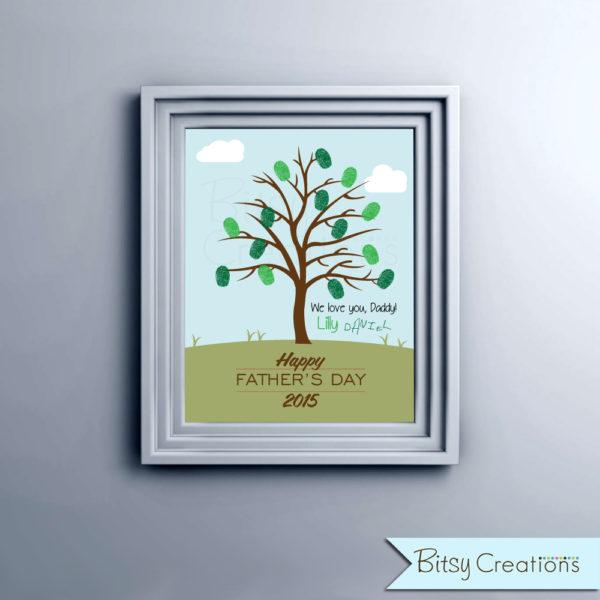 Fingerprint Father's Day Printable Tree DIY INSTANT DOWNLOAD