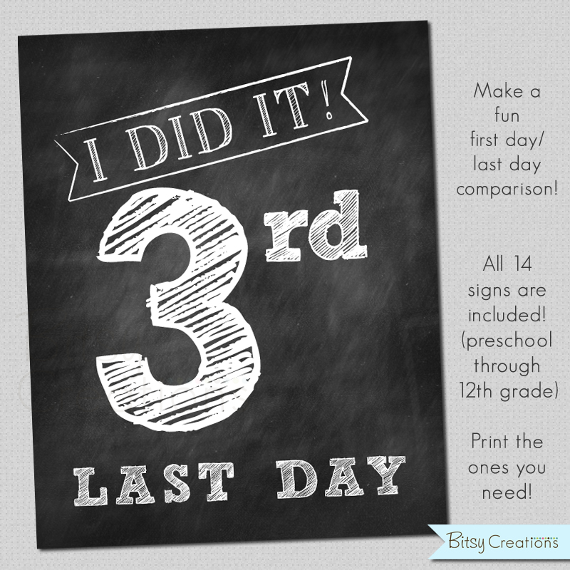 graphic about Last Day of School Printable named Final Working day of College Printable Chalkboard Indications Prompt Obtain