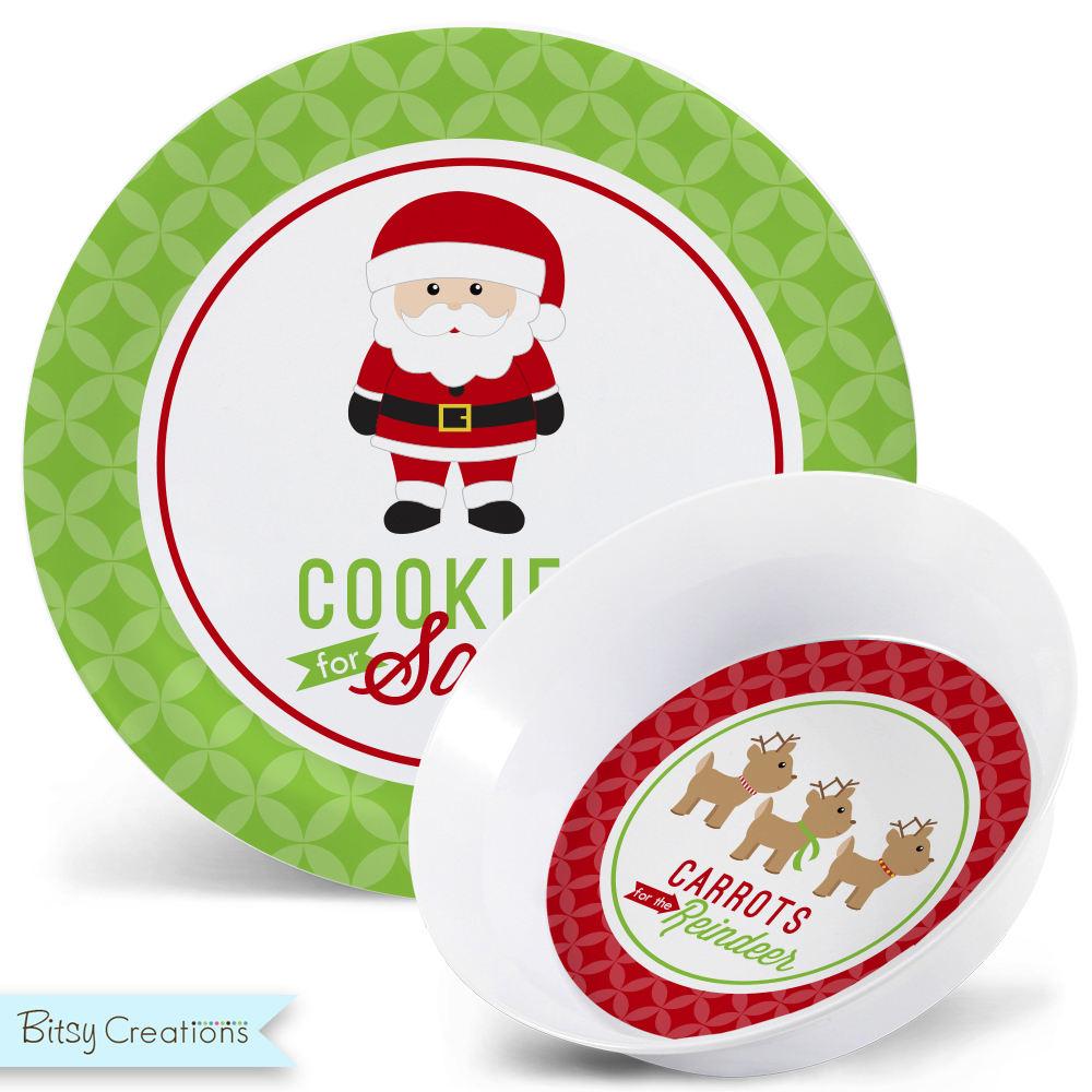 Cookies for Santa Melamine Bowl and Plate Set Christmas Plate