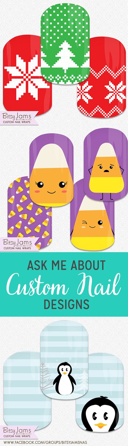 Some Recent Custom Nail Wrap Designs from BitsyJams