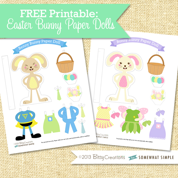 Free Printable Easter Bunny Paper Dolls