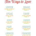 10 Ways to Love – Free Printable