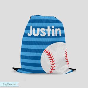 Blue baseball drawstring bag from BitsyCreations