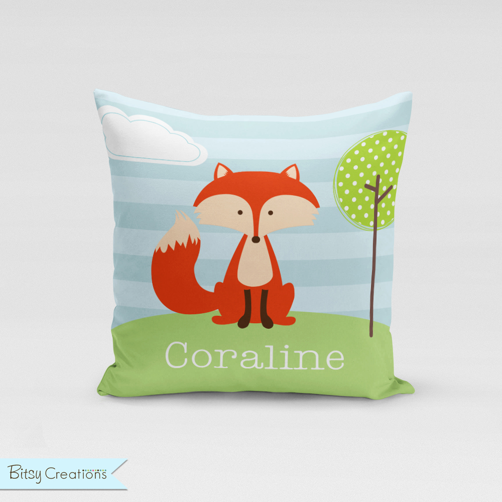 Fox Pillow Cover by BitsyCreations