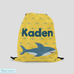 Personalized Shark Drawstring Backpack by BitsyCreations