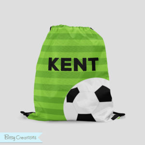 Green Soccer Drawstring Bag from BitsyCreations