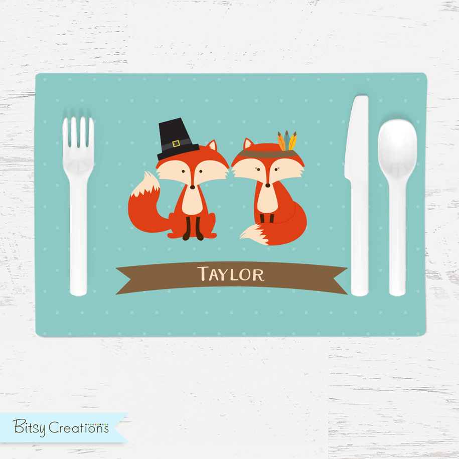Personalized Thanksgiving Foxes Placemat For Kids