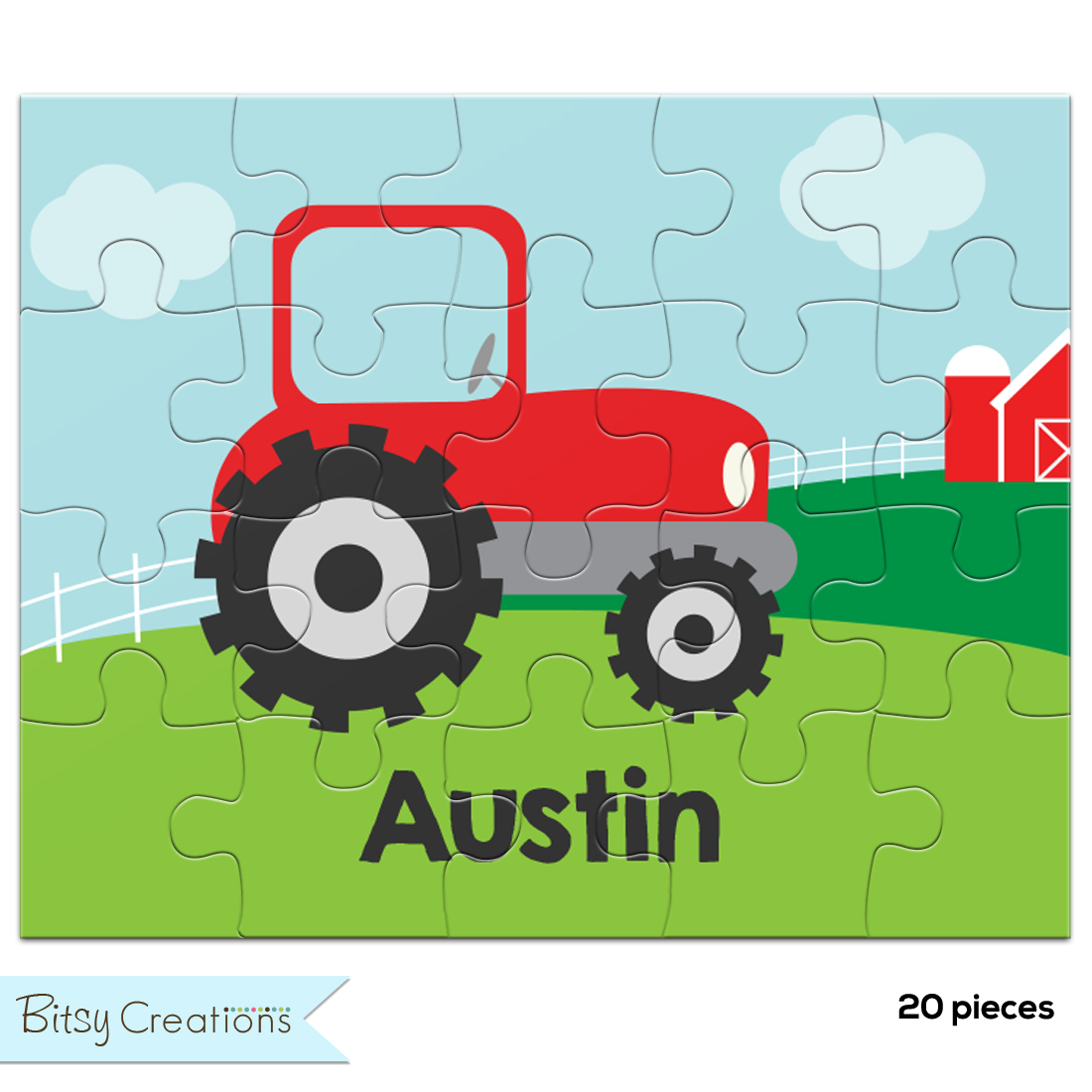 Personalized Tractor Puzzle For Kids