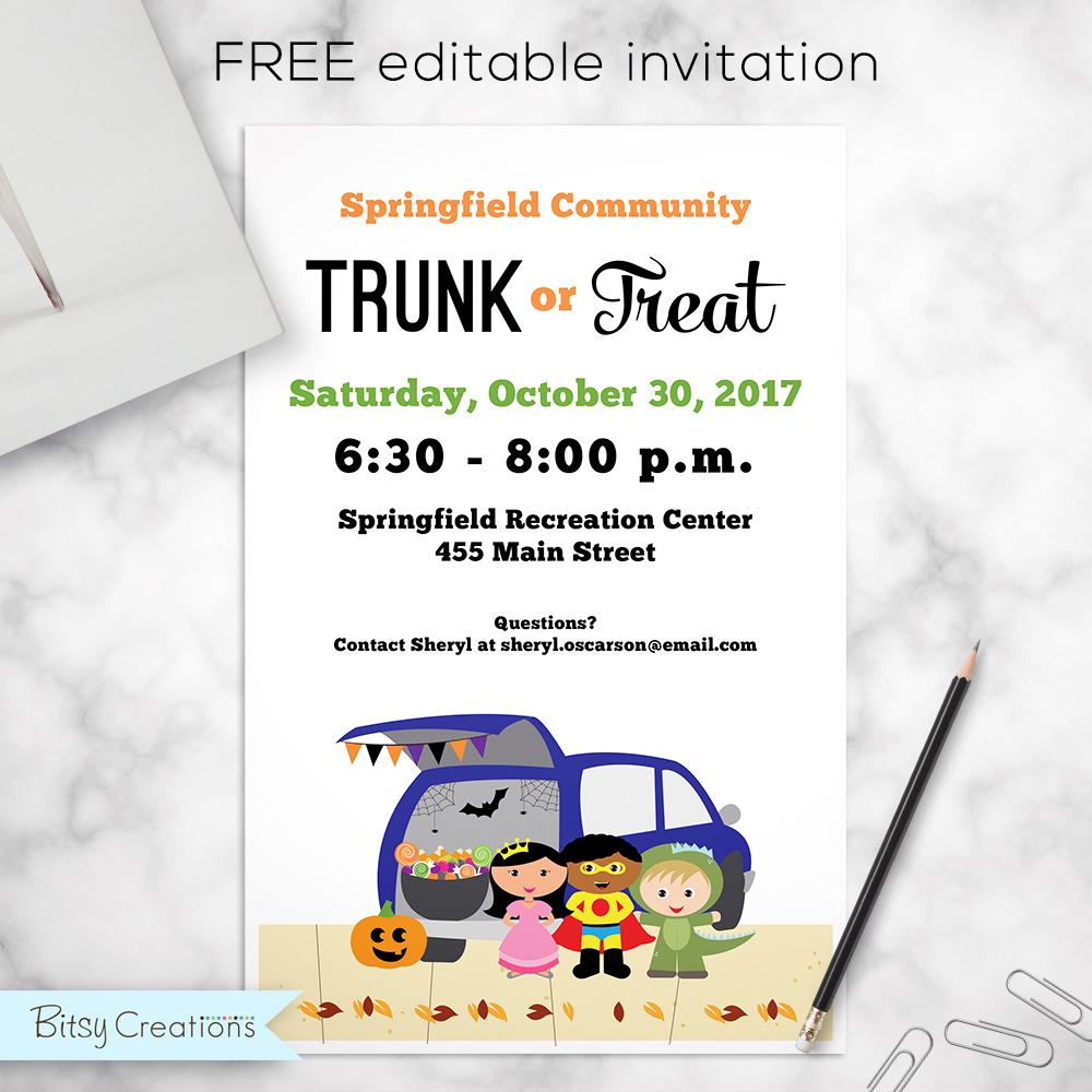 free trunk or treat invitation editable pdf