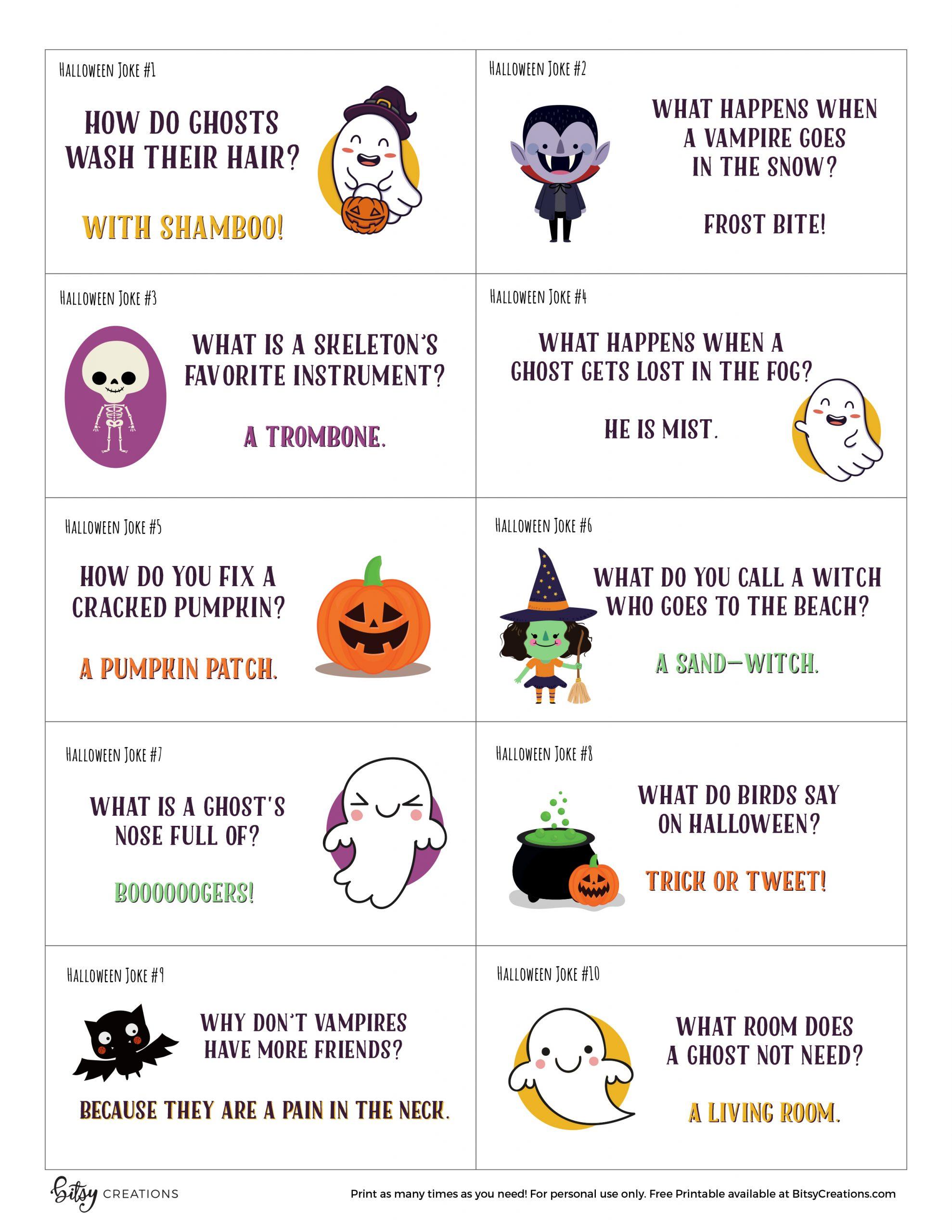 Free Printable Halloween Jokes for Kids by BitsyCreations